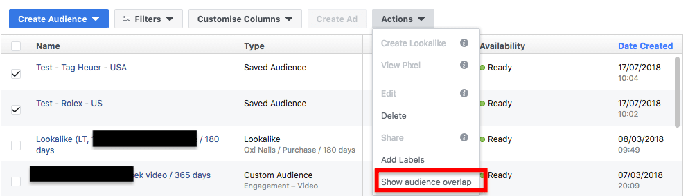 facebook ads audience overlap