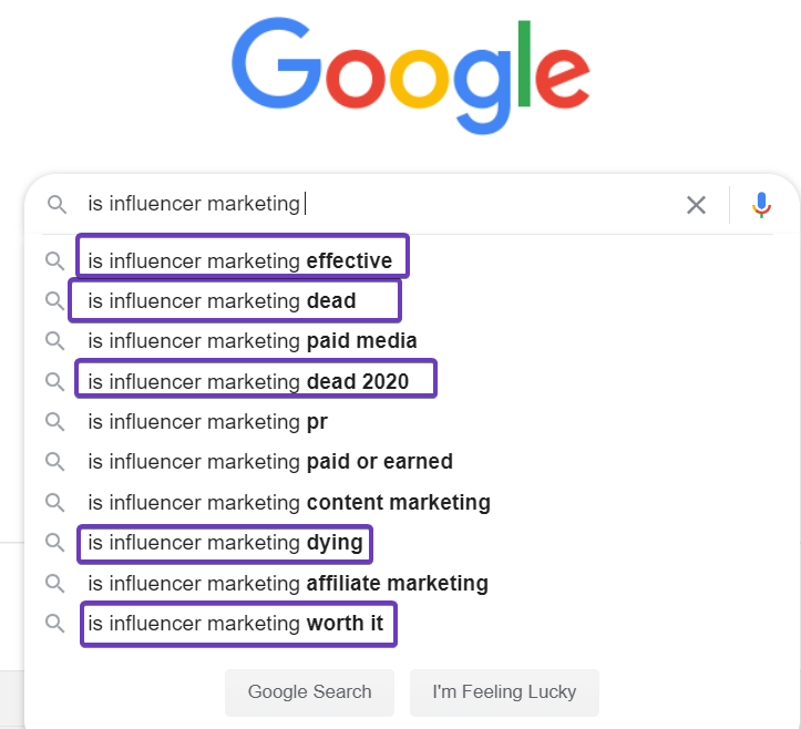 influencer marketing myth searches