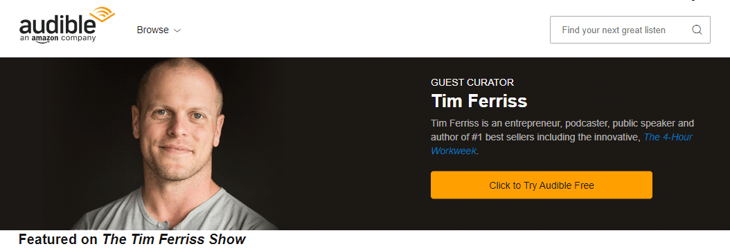 tim ferris audible influencer marketing