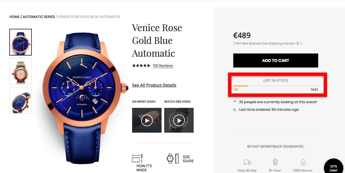 ecommerce scarcity product