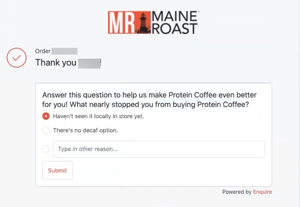 maine roast post purchase survey